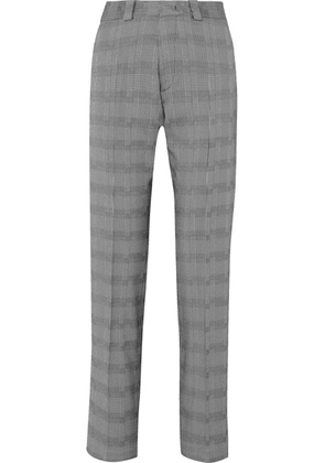 Vetements - Houndstooth Wool-blend Slim-leg Pants - Gray