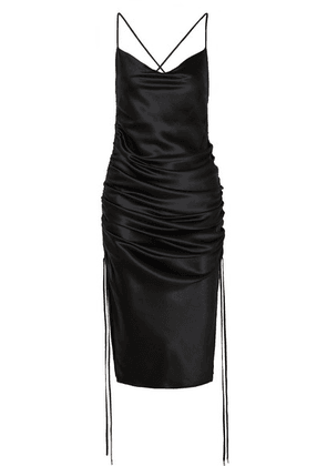 Galvan - Yasmine Ruched Silk-satin Dress - Black