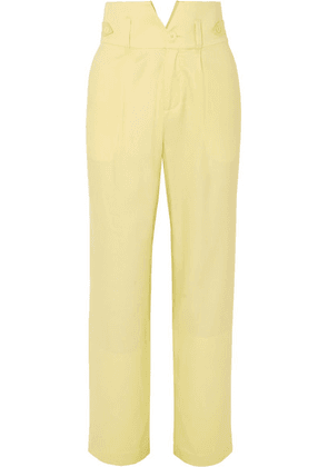 Fleur du Mal - Silk And Wool-blend Straight-leg Pants - Pastel yellow