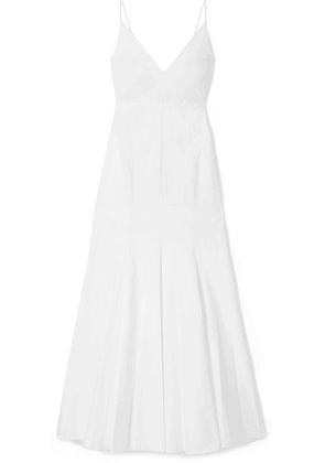 Khaite - Blair Pleated Cotton-poplin Maxi Dress - White