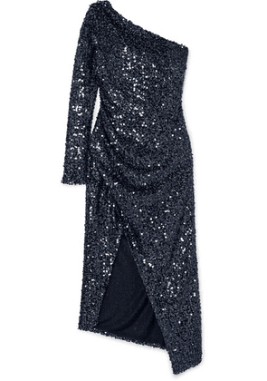 Galvan - Mamounia One-shoulder Sequinned Tulle Dress - Midnight blue