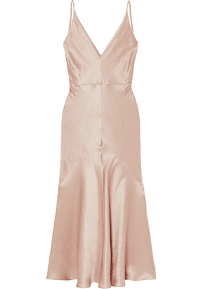 Gabriela Hearst - Bridget Linen And Silk-blend Satin Midi Dress - Blush