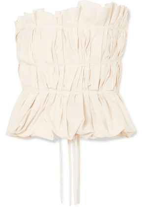 Brock Collection - Gathered Cotton And Linen-blend Bustier Top - Cream