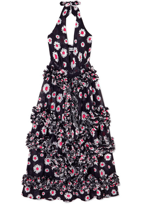 Molly Goddard - Antonia Ruffled Floral-print Stretch-mesh Halterneck Midi Dress - Black