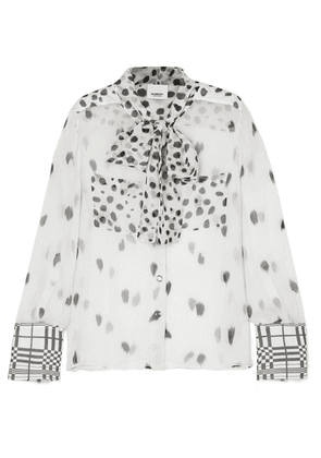 Burberry - Pussy-bow Printed Silk-chiffon Blouse - White