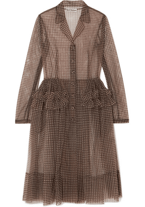 Molly Goddard - Tiffany Ruffled Gingham Tulle Coat - Brown