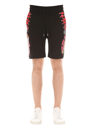 Pizza Print Cotton Jersey Sweat Shorts