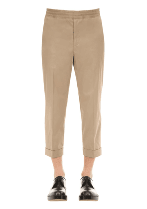 Pleated Cotton Blend Trousers