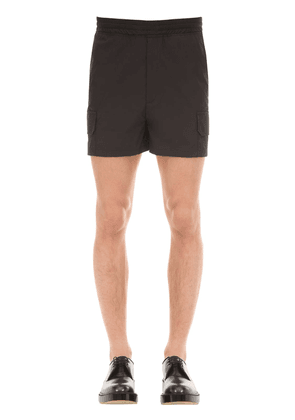 Cropped Cotton Blend Techno Cargo Shorts
