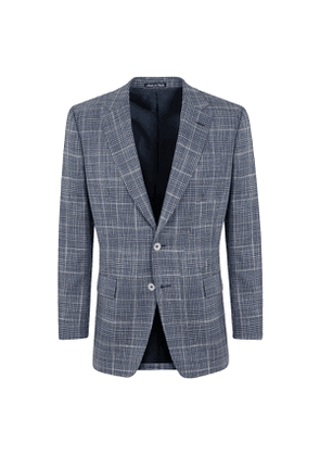 Blue Wool Prince of Wales Check Single-Breasted Jacket