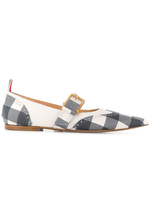 Thom Browne Gingham Brogued Long-Point Flat - Blue