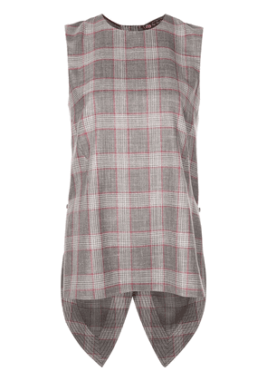 Adam Lippes checked sleeveless blouse - Brown