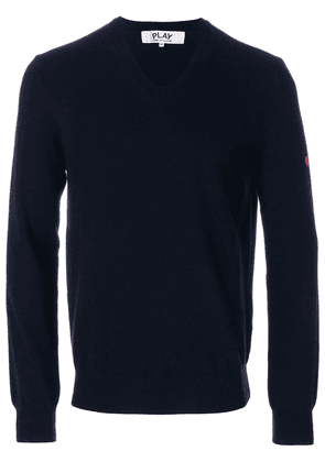 Comme Des Garçons Play embroidered heart patch sweater - Blue