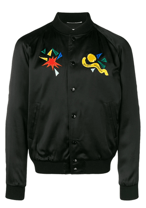 Saint Laurent satin varsity jacket - Black