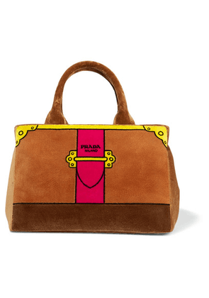 Prada - Printed Velvet Tote - Brown