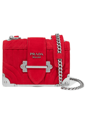 Prada - Cahier Mini Quilted Suede Shoulder Bag - Red