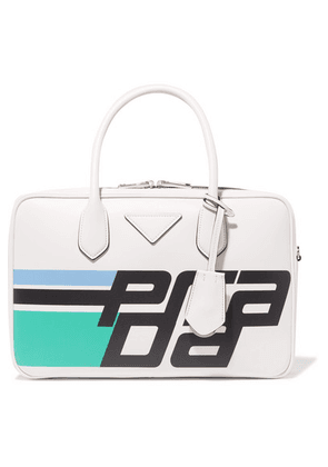 Prada - Bauletto Printed Leather Tote - White