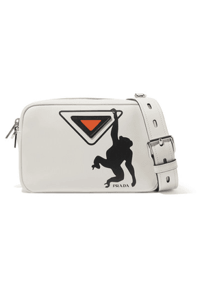Prada - Printed Leather Camera Bag - White