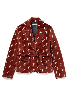 Chloé Kids - Ages 6 - 12 Embroidered Cotton-velvet Blazer