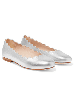 Chloé Kids - Sizes 29 - 35 Scalloped Metallic Leather Ballet Flats