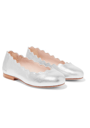 Chloé Kids - Sizes 25 - 27 Scalloped Metallic Leather Ballet Flats