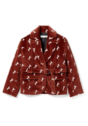 Chloé Kids - Ages 2 - 5 Embroidered Cotton-velvet Blazer