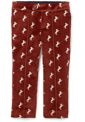 Chloé Kids - Ages 2 - 5 Embroidered Cotton-velvet Pants
