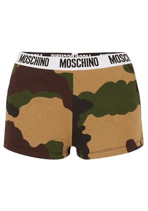 Moschino - Camouflage-print Cotton-jersey Boy Shorts - Army green