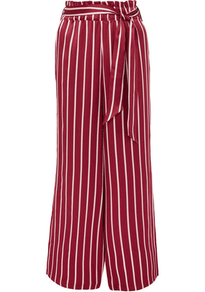 ASCENO - Striped Silk-satin Pajama Pants - Claret
