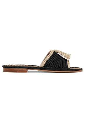 Carrie Forbes - Adam Tasseled Woven Raffia Slides - Black
