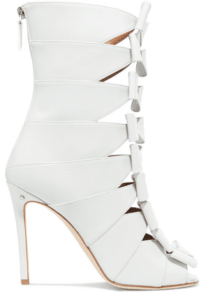 3c9d5cfec02 Laurence Dacade - Silda Bow-detailed Cutout Creased-leather Ankle Boots -  White