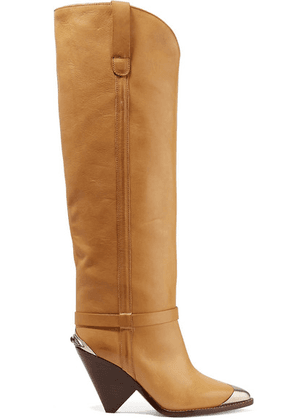 Isabel Marant - Lenskee Metal-trimmed Leather Knee Boots - Tan