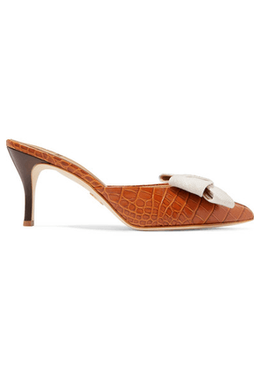 Brother Vellies - Stell Bow-embellished Croc-effect Leather Mules - Tan