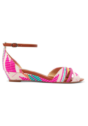 Alexandre Birman - Jacquard, Leather And Suede Wedge Sandals - Fuchsia