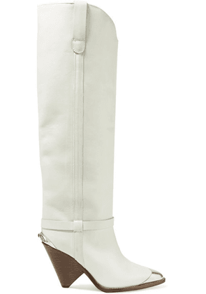 Isabel Marant - Lenskee Metal-trimmed Leather Knee Boots - Off-white