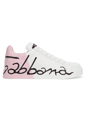 Dolce & Gabbana - Logo-painted Leather Sneakers - White