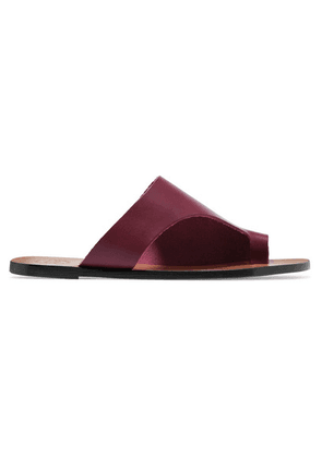 ATP Atelier - Rosa Cutout Leather Slides - Burgundy