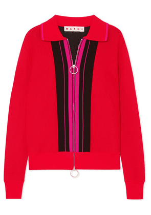 Marni - Color-block Mohair-blend Top - Red
