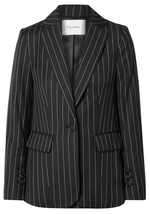 FRAME - Pinstriped Wool-blend Blazer - Black
