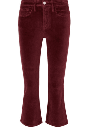 FRAME - Le Crop Mini Boot Cotton-blend Velvet Flared Pants - Burgundy