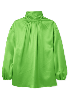 73945ca32bc Prada | Gathered Neon Silk-satin Blouse | Green | MILANSTYLE.COM
