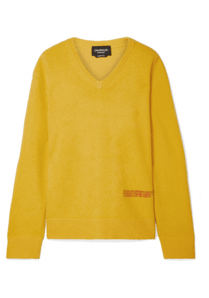 CALVIN KLEIN 205W39NYC - Embroidered Wool And Cotton-blend Sweater - Marigold