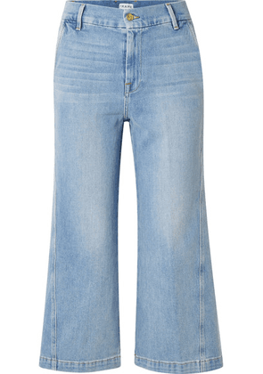 FRAME - Twisted Cropped High-rise Wide-leg Jeans - Light denim