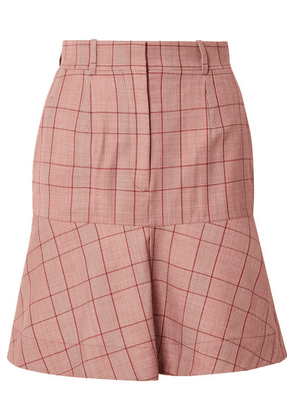 CALVIN KLEIN 205W39NYC - Prince Of Wales Checked Wool Mini Skirt - Claret