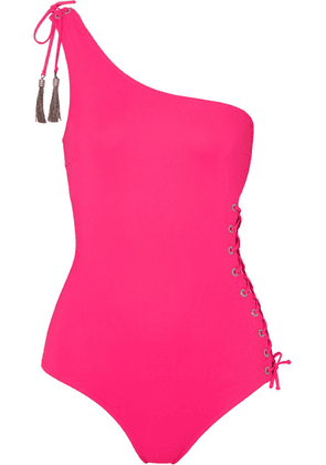 Emma Pake - Bianca One-shoulder Tasseled Lace-up Swimsuit - Bright pink