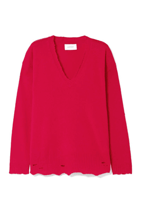 Current/Elliott - Oversized Distressed Wool And Cashmere-blend Sweater - Red