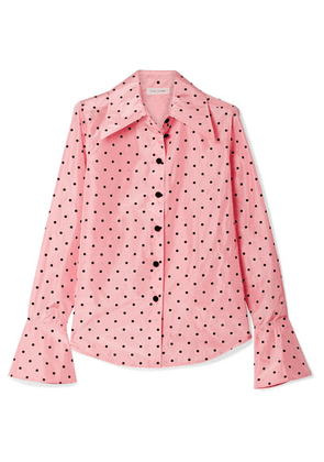Marc Jacobs - Polka-dot Flocked Silk-taffeta Shirt - Pink