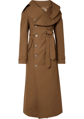 A.W.A.K.E. - Belted Cotton-gabardine Trench Coat - Brown