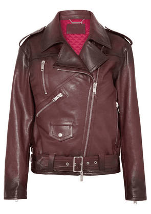Givenchy - Oversized Textured-leather Biker Jacket - Burgundy