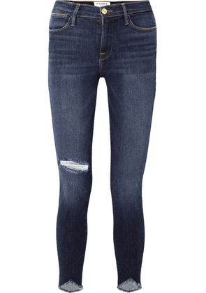 FRAME - Le High Skinny Sweetheart Distressed High-rise Jeans - Dark denim